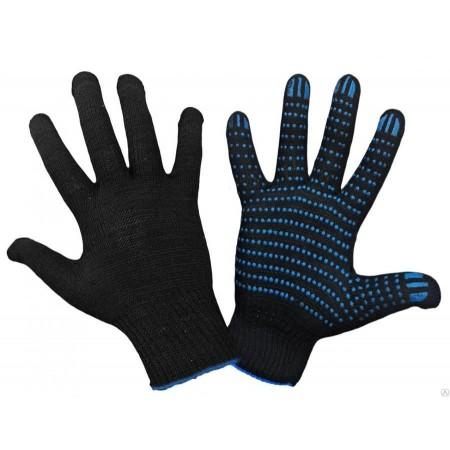 Перчатки ХБ с ПВХ 10 класс 32гр черные